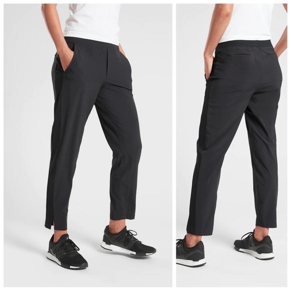 ATHLETA Brooklyn Ankle Pant 14 NEW NWOT Black Pants Work Travel L LARGE